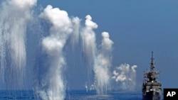 台湾的汉光军事演习中的佩里级护卫舰(台湾称巡防舰)(2014年9月17日)