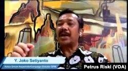 Ketua Umum Asosiasi Pengelola Pasar Indonesia (Asparindo), Joko Setiyanto dalam sebuah webinar. (Foto: VOA/Petrus Riski)