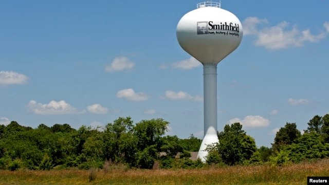 """A water tower with the town slogan """"ham, history and hospitality"""" rises over Smithfield, Virginia, May 30, 2013."""