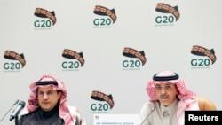 沙特阿拉伯財政大臣穆罕默德·賈丹(Mohammed Al-Jadaan)2月23日在首都利雅得就20國集團峰會問題舉行記者會。