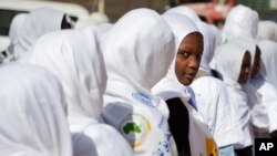 Sudanese women and girls march in El Fasher, North Darfur, to celebrate International Women's Day. (file)