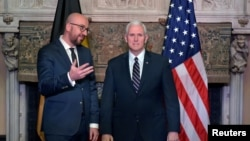 Belgian Prime Minister Charles Michel and U.S. Vice President Mike Pence give a statement in Brussels, Belgium, Feb. 19, 2017.
