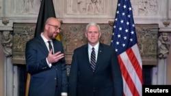 美国副总统彭斯与比利时首相夏尔·米歇尔在布鲁塞尔发表声明(2017年2月19日)