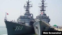 Hai tàu Hải quân Nhật thăm cập cảng Đà Nẵng hôm 6/3/2019. Photo Zing.vn