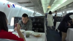 Dining inside a grounded airplane