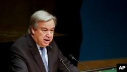 លោកអគ្គលេខាអង្គការសហប្រជាជាតិ Antonio Guterres ថ្លែងសុន្ទរកថានៅក្នុងកម្មវិធី Holocaust Memorial Ceremony របស់អង្គការប្រជាជាតិកាលពីថ្ងៃទី២៧ ខែមករា ឆ្នាំ២០១៧។