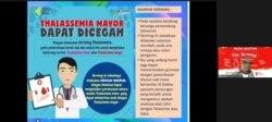 Kampanye Pencegahan Talasemia disampaikan oleh Dokter Cut Putri Arianie, Direktur Pencegahan dan Pengendalian Penyakit Tidak Menular (P2PTM) Kementerian Kesehatan, Rabu (5/5/2021). (Foto: Tangkapan Layar)