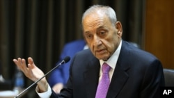 FILE - Lebanese Parliament Speaker Nabih Berri speaks during the opening session of the National Dialogue, in the Parliament building, in downtown Beirut, Lebanon, Sept. 9, 2015.