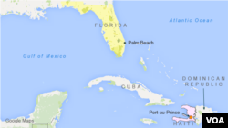 Map shows locations of Palm Beach, Florida and Haiti.