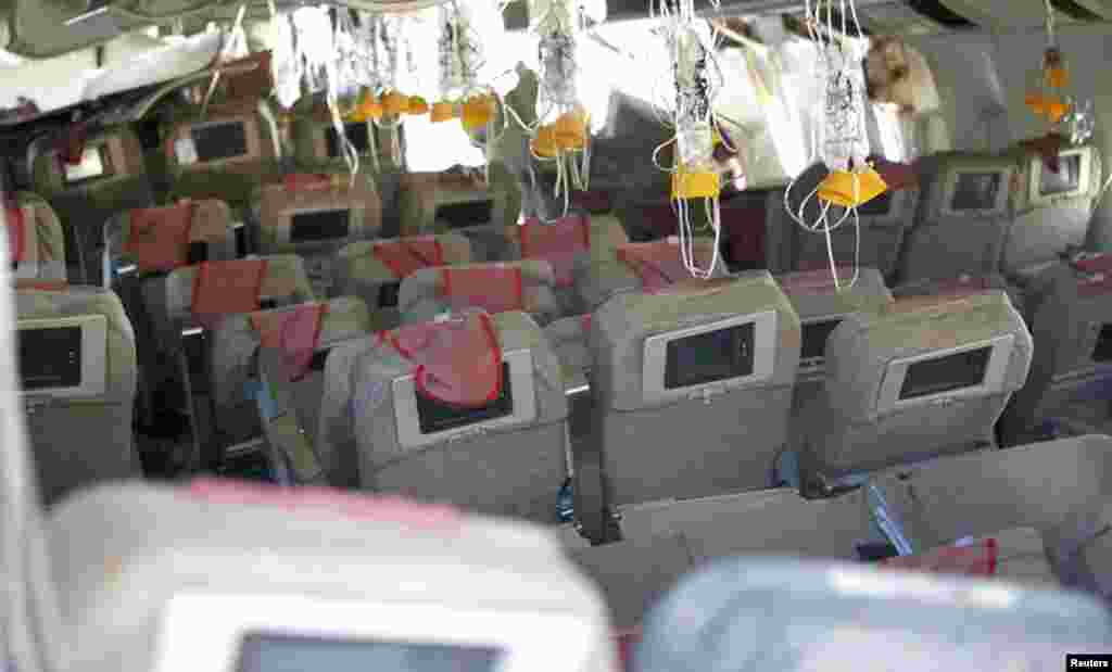 The interior of the Asiana Airlines Flight 214 that crashed at San Francisco International Airport.