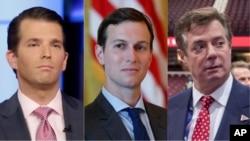 Từ trái sang, ông Donald Trump Jr., ông Jared Kushner, và ông Paul Manafort.