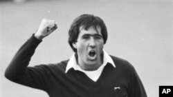 Seve Ballesteros reacts after winning the Open Championship golf tournament at St. Andrews, Scotland, July 22, 1984 (file photo).