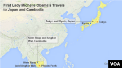 Map showing destinations of Michelle Obama's trip to Asia