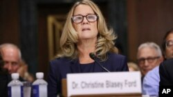 Christine Blasey Ford testifies before the Senate Judiciary Committee, Sept. 27, 2018, in Washington.