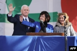 (L-R) U.S. Vice President Mike Pence, his wife Karen Pence and their daughter Charlotte Pence arrive for a rally on the National Mall before the start of the 43rd annual March for Life January 27, 2017 in Washington, DC.