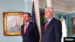 El secretario de Estado Rex Tillerson se reunió en el Departamento de Estado con el canciller mexicano Luis Videgaray. Agosto 30, 2017.