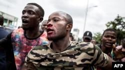 Un homme blessé au visage après les tirs de forces de sécurité congolaises, Kinshasa, RDC, le 12 janvier 2018