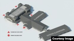 Architect's rendering of new elementary school with tsunami safe haven on gym roof. (Courtesy of Ocosta School District)