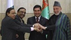 از راست: رییس جمهوری افغانستان، ترکمنستان، پاکستان و وزیر نفت هند