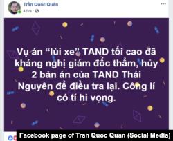 Facebooker Trần Quốc Quân thận trọng nhận xét về quyết định mới của tòa đối với vụ của lái xe Lê Ngọc Hoàng