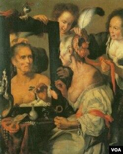 """Die eitle Alte"" by Bernardo Strozzi. Oil on canvas."