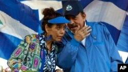 Shugaban Nicaragua Daniel Ortega da matarsa kuma mataimakiyar Shugaban kasa, Rosario Murillo, yayin wani gangamin zabe a 2018