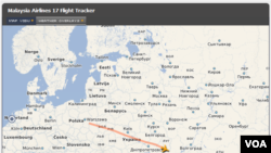 7月17日,马来西亚MH17号航班从阿姆斯特丹起飞后的路线图。