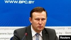 Belarus' KGB state security service spokesman Dmitry Pobyarzhin speaks during a briefing in Minsk, Belarus, Nov. 20, 2017.