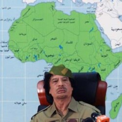 Moammar Gadhafi at a news conference in Tripoli in January 2008