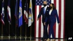 Demokratlardan prezidentlikka nomzod Jo Bayden va u vitse-prezidentlikka tanlagan Kamala Harris, Delaver shtati, 12-avgust, 2020