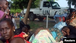 FILE - South Sudanese families rest in a camp for internally displaced people at the United Nations mission compound in Tomping, Juba, July 11, 2016. (The image was provided to Reuters by a third party.)