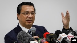 Malaysian Transport Minister Liow Tiong Lai speaks at a press conference in Shah Alam, Malaysia, Aug. 12, 2015.