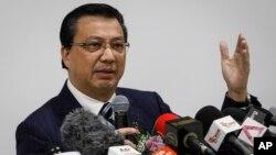 Bộ trưởng Bộ Giao thông Vận tải Malaysia Liow Tiong Lai phát biểu trong buổi họp báo ở Shah Alam, Malaysia, ngày 12/8/2015.