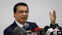 FILE - Malaysian Transport Minister Liow Tiong Lai speaks at a press conference in Shah Alam, Malaysia, Aug. 12, 2015.