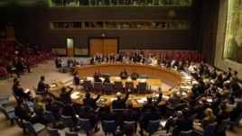 Members of the U.N. Security Council vote on a draft resolution Saturday, Oct. 14,  2006