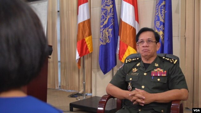 VOA interviews General Chhum Socheat, Spokesman for the Defense Ministry of Cambodia, at the Office of the Peace Palace, Phnom Penh, Cambodia, on August 22, 2019.