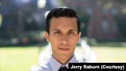 Jerry Raburn, a Thai-American campaigner for Joe Biden's presidency living in Los Angeles, California