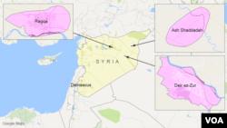 Raqqa, Ash Shaddadah, and Deir ez-Zur, Syria