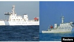 中國海監船4月10日出現在南中國海斯卡伯勒礁(也就是中國所稱的黃岩島)附近海域