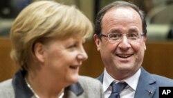 Chanceller alemã, Angela Merkel e o presidente francês, Fançois Hollande
