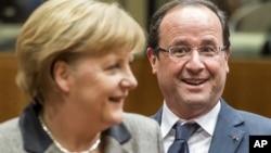 Nemačka kancelarka Angela Merkel i francuski predsednik Fransoa Oland