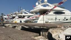 Impacto do terramoto no porto, Kos. 21 de Julho, 2017.
