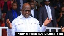 Président Félix Tshisekedi na milulu ya losambo ya ba kristu ya biyamba ya bolamuki (églises de réveil) na bisusu, o'mokolo ya eyenga na statde des Martyrs., 23 juin 2019. (Twitter/Présidence RDC)