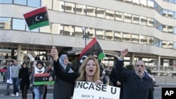 A small group of anti-Moammar Gadhafi protesters take part in a demonstration at the Libyan Embassy in Washington, March 1, 2011