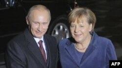 Владимир Путин и Ангела Меркель в Германии