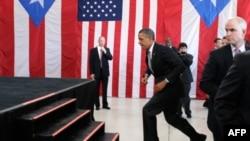 Predsednik Obama stiže na aerodrom u San Huanu u Portoriku, 14. juna, 2011.