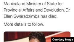 A tweet by the state-controlled Manica Post about the death of Dr. Ellen Gwaradzimba. (Manica Post)