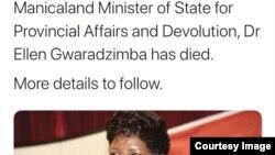 Okwethulwe liphephandaba leManica Post ngokubhubha kwesiphathamandla sikahulumende uDokotela Ellen Gwaradzimba. (Tweet: Manica Post)
