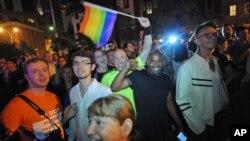 紐約市部份市民慶祝同性婚姻合法化