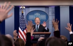 "White House press secretary Sean Spicer speaks during the daily briefing at the White House in Washington, Jan. 25, 2017. Spicer has accused journalists of ""cherry picking"" information on the wiretapping story."